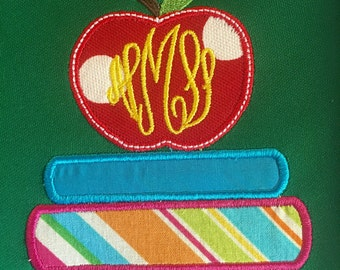 Monogrammmed personalized books with apple teacher tshirt