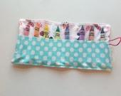 JUMBO TODDLER Crayon Roll, Crayon Holder, Minnie Mouse, Aqua Polka Dot Pocket, Holds 8 Jumbo Toddler Crayons, Ready to Ship