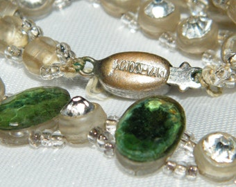 Vintage Green Bead Czech Czechoslovakia Necklace Faceted Glass Bead