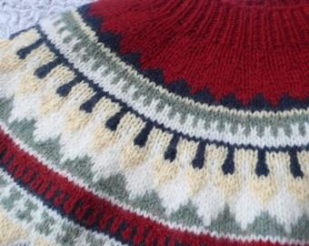 Eddie Bauer hand knitted navy wool fairisle yolk sweater M