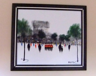 Vintage Acrylic on Canvas Wall Art Painting - London, Queens Guard, Bearskin Hat, Red Coat, Mid Century, Klitz Style, Framed, Impressionism