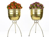 "bullet planter, pair, mid century, tripod, gold, brass, 20"", retro, atomic, vintage garden, 1950s, 1960s, Contempora, solid brass"