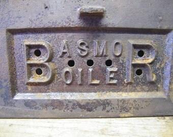 Rusty Old Cast Iron Furnace Boiler Door Industrial Steampunk Repurpose