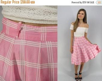 On Sale - Vintage 50s Circle Skirt, Full Skirt, Plaid Skirt, Cotton Skirt, Vintage 50s Skirt Δ size: xs