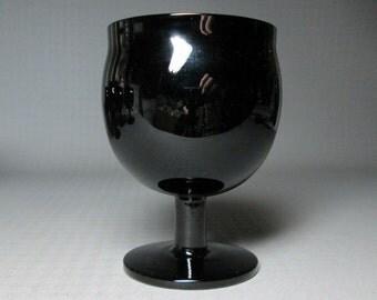 BLOCK Capers black glass wine goblet , set of 6
