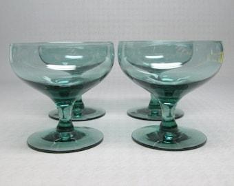 Russel Wright glass American Modern , Morgantown , set of 4 seafoam wine glasses