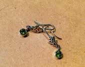 Celtic Trinity Knot Genuine Peridot Earrings