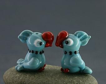 Parrot miniature sculpture figurine bead / fairy garden supply kit terrarium accessory glass lampwork tiny animal pet