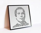 "Paul Simon - intricate doodles of his life in a portrait - Simon and Garfunkel Print - ltd edition of 100 - 8"" x 8"""