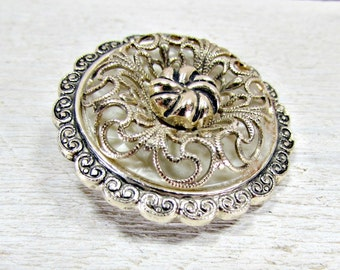 Vintage Flower Scarf Clip, Gold Silver Filigree Scarf Clip, 1970s Fashion Accessory, Vintage Scarf Jewelry, Mothers Day Gift for Mom Grandma
