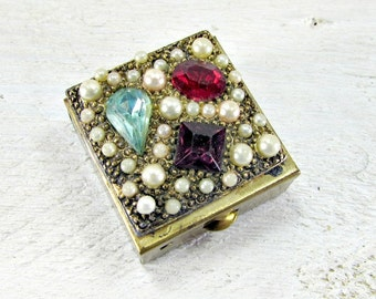 Vintage Brass Pill Box, Jeweled Rhinestone Pearl Pill Box, Small Metal Pill Box, Purse Pill Box, 1960s Purse Accessory, Gift for Mom Grandma