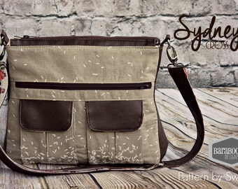 Swoon Sydney Messenger Bag purse cross body in Cotton + Steel linen canvas rice print with faux leather accents