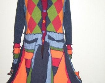 Upcycled Sweater Pixie Coat Rainbow Argyle Bright Colors