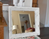 Shabby Chic Chunky Wood Mirror - Rustic Farmhouse Wall Mirror Distressed in Cream ......