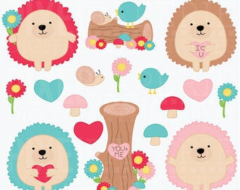 valentines day hedgehogs clipart digital clip art animals woodland - Valentine Hedgehogs Digital Clipart