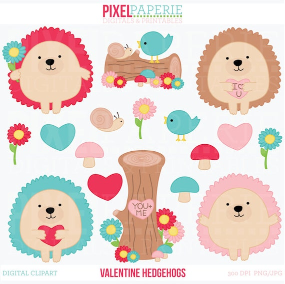 valentines day hedgehogs clipart digital clip art animals