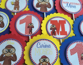SET OF 12,  Curious George Cupcake Toppers
