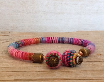 Rope Bracelet - Hippie Fiber Bracelet - Unique Handmade Jewelry - Bohemian Jewelry - Stackable Bracelet - Christmas Gifts for Woman