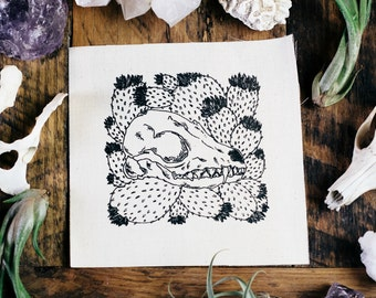 Fennec Fox Skull and Flowering Cactus Cream Sew On Punk Patch
