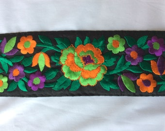 1 Yard Embroidered Ribbon on black dupion silk in a gorgeous floral design on a beige  background by the yard