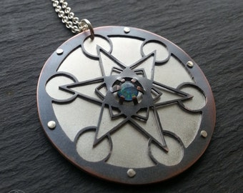 Opal Metatron's Cube Pendant - sterling silver oxidised copper and triplet opal - Handcrafted Sacred Geometry Jewellery
