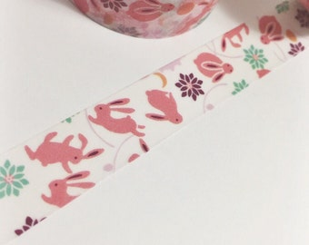 Pink Easter Bunnies Colorful Flowers and Dancing Bunnies Washi Tape 11 yards 10 meters 15mm