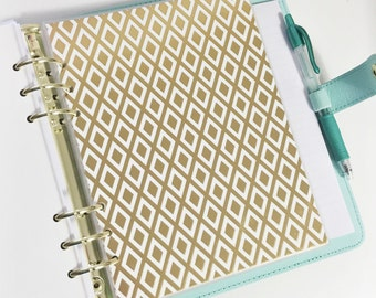 A5 Size Gold Foil Diamond Design Laminated Dashboard Filofax Large Kikki k Planner