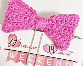 Hot Pink Crochet Bow Planner Clip Clippie Planner ECLP Happy Planner Filofax