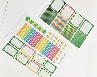 2 Sheet St. Patricks Day Sticker Set Sampler Pack Stickers Rainbow Gold Planner Stickers Erin Condren Life Planner Happy Planner