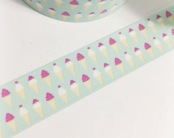 Pretty Pastel Mint Washi with White and Off-White Ice Cream Cones Hot Pink Ice Cream Washi Tape 11 yards 10 meters 15mm