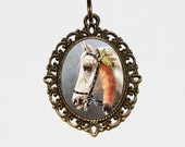 Horse Necklace, Farm Jewelry, Country Girl, White Horse, Oval Pendant