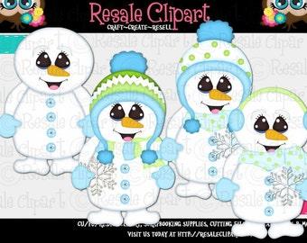 Cute Snowman Clipart (Digital File Download)
