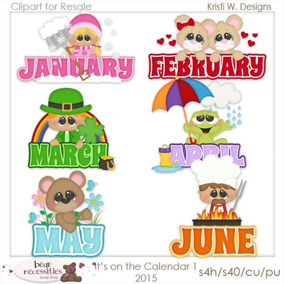 On the Calendar January-June 1 Clipart Digital Zip Download