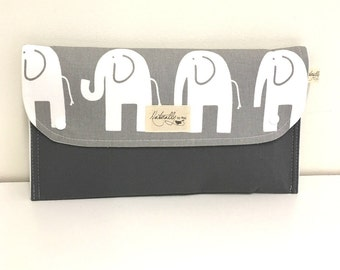 Baby Change Nappy/Diaper wallet clutch 'Elephant' Grey and white cotton twill. Fantastic baby shower gift.