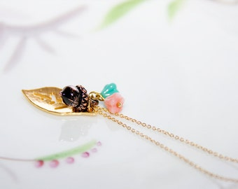 Leaf Acorn Flower Necklace Pink Turquoise Brown Golden Charms Nature Inspired Jewelry - N320