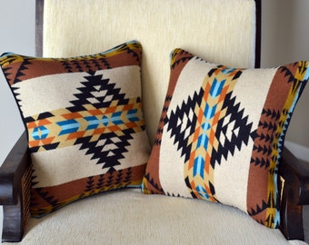 Wool Pillow PAIR handcrafted of Rancho Arroyo pendleton wool fabric Pillow Shams Covers Cases Southwestern decorative pillows zipper
