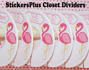 6 Baby Closet Dividers Organizers Assembled or DIY PreCut Pink Flamingo Bird Girl Baby Shower Gift Nursery Decor Clothes Organizer Cl090