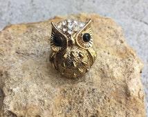 Vintage Gold Owl Ring Size 6 Gold Owl Clear Rhinestones Black Eyes