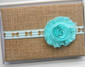 Aqua Chiffon Headband, Baby Aqua Headband, Aqua Flower Headband, Chiffon Headband, Aqua Bow Headband