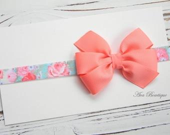 Coral Bow Headband - Newborn Bow Headband - Baby Coral Bow Headband - Baby Floral Headband