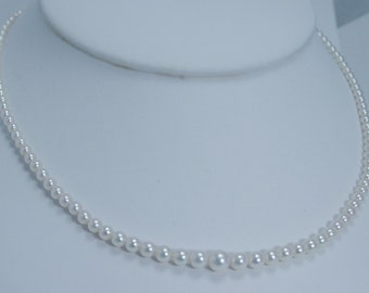 Vintage Mikimoto Sterling Silver Clasp Graduating 2.8mm to 6mm Necklace A Plus