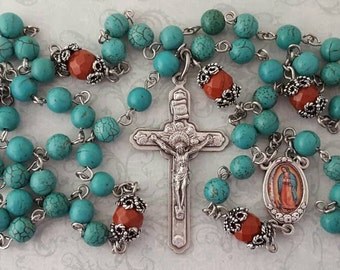 Our Lady of Guadalupe Rosary, Turquoise & Red Jasper, Angel Crucifix, Traditional Five Decade, Strong, Stainless Steel, Gemstone Rosary
