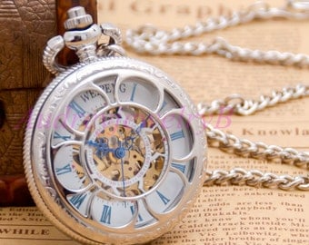 1PCS Vintage  Sunflower Pocket Watch Mechanical Watches With Chain Necklace Men Skeleton Watch groomsmen gift