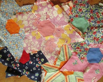 52 Vintage Quilt Blocks, Hand Stitched, Flower Garden