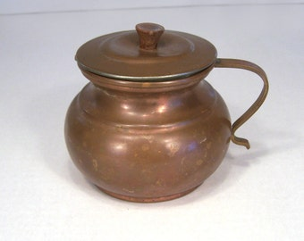 Pitcher Copper Covered Pitcher Pot  Handle Lid Wooden Knob