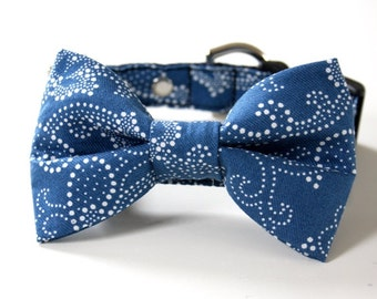 Paisley Bow Tie Dog Collar - Blue, white