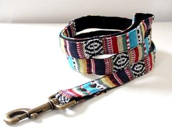 Mexican woven Dog Leash -A- blue, black - Antique Brass