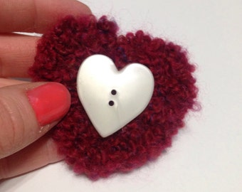 Red heart white brooch, pin, clip