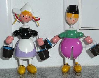 Vintage Goula Jack n Jill Dutch Children with Bobble heads Boy & Girl Set