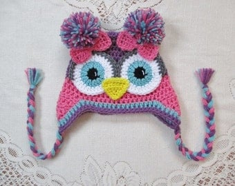 Medium Pink, Medium Purple and Aqua Crochet Owl Hat - Photo Prop - Available in Baby to Toddler Size - Any Color Combination